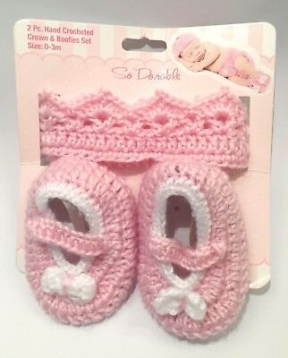 So Dorable Baby Girl Pink 2PC Hand Crocheted Crown and Booties Set 0-3 Months