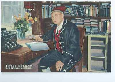 Little Norway, Blue Mounds, WI, Norwegian Man, Typewriter, Closed 2012-Postcard