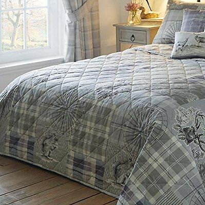 Tatton Patchwork Quilted Bedspread Throw Comforter Size (229 x 195 cm) Heather