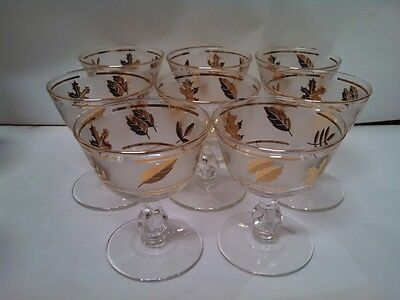 Libbey Starlyte Frosted Glass Gold Leaves Set 8 Sherbet Champagne Coupe Glasses
