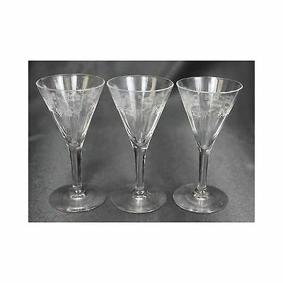 Lot 3 Glass Etched Crystal Flute Wine Champaign Glasses Grape Vine