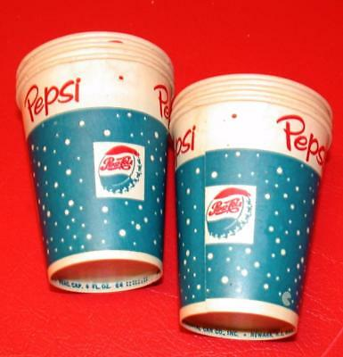 6 Vintage 1950's PEPSI COLA SODA 4oz Wax PAPER Vending CUPS LOT Old Store Stock