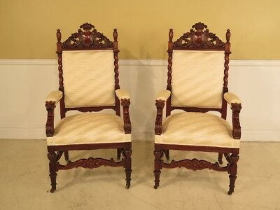 F28456:  Pair of Victorian Carved Lion Head High Back Arm Chairs