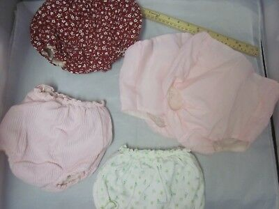 Vintage Lot Baby VINYL Plastic Lined Diaper Covers Ruffle Great Set Pink Green