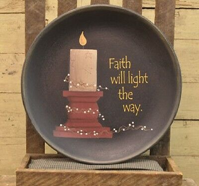 Faith Will Light The Way Large Wooden Plate, Primitive, Religious, New, Pillar
