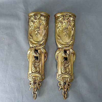 Pair of French Antique Golden Bronze Plaque Finials Leg Furniture 19th century