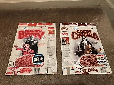 COUNT CHOCULA Star Of David RECALL and Rare Frankenberry Cereal Box 1987