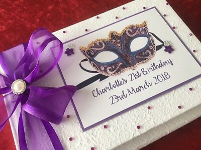 Masquerade Guest Book Personalised  Birthday Boxed 18th 40th 50th 60th