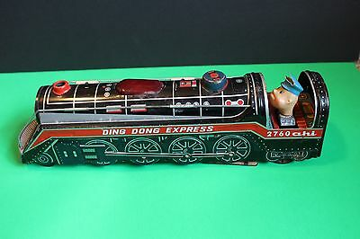 Vintage Ding Dong Express 1960's Battery Operated Toy Train 2760 Ahi Japan