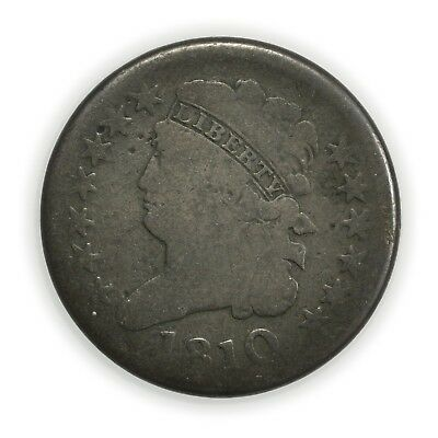 1810 Classic Head Half Cent, Small, Early Copper Coin [3532.15]