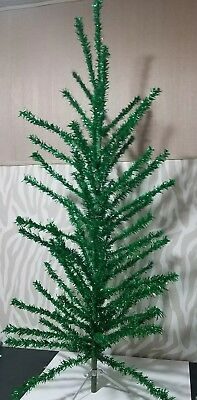 Silver and Green Christmas Tree 6' Box 70 branches vtg Aluminum stand