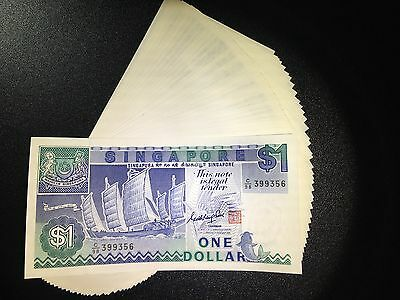 Singapore $1 boat series banknote 1987 One Dollar UNC excellent condition