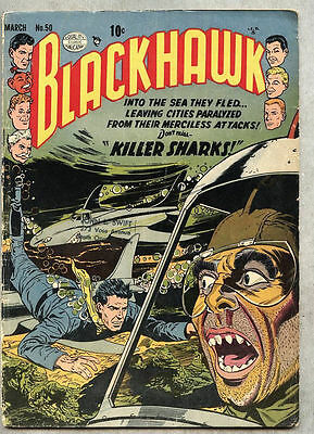 Blackhawk #50-1952 vg Reed Crandall / 1st Killer Shark