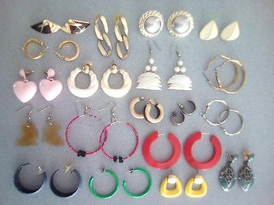 Lot of Pierced Earrings. Some vintage. Pink hearts, white shells, yellow, green