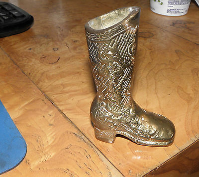 Antique Vintage Heavy Solid Brass High Top Boot Fancy Details Embossed 4 1/2""