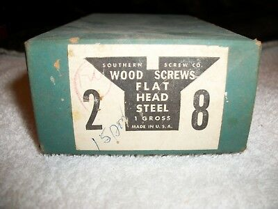 "VINTAGE  Flat Head Slotted Wood Screws 2"" x #8  Gross Box"