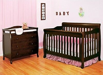 Baby Crib With Changing Table Convertible 4 in 1 Drawer Dresser Espresso Set New