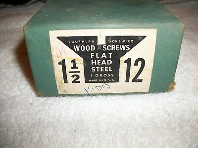"VINTAGE  Flat Head Slotted Wood Screws 1 1/2"" x #12  Gross Box"