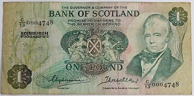 REDUCED BANK OF SCOTLAND £1 One POUND BANKNOTE Edinburgh 1972-1979 #303008