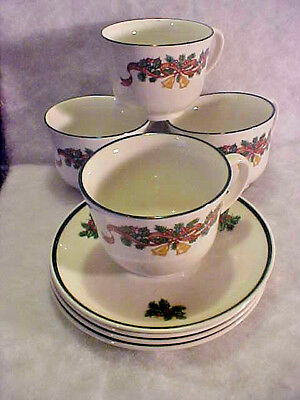 SET OF 4 Johnson Brothers VICTORIAN CHRISTMAS Tea CUPS & SAUCERS