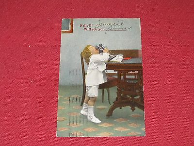 1920 Hello! I Will See You - soon Postcard #117 Little Boy on Telephone VG