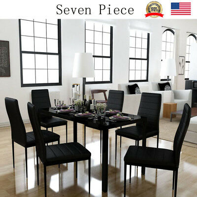 7 Piece Glass Dining Table Set 6 Leather Chairs Kitchen Room Breakfast Black