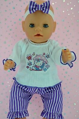 "Play n Wear Doll Clothes To Fit 17"" Baby Born PURPLE STRIPE PANTS~TOP~HEADBAND"