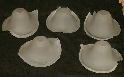 Vintage Matching Set 5 Art Deco Slip Frosted Glass Chandelier Shades Nice