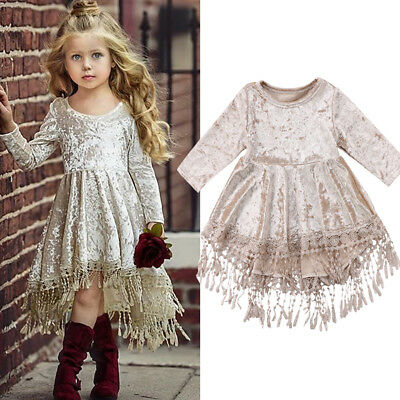New Baby Velvet Tassel Dress Flower Girls Dress Bridesmaid Wedding Pageant Dress
