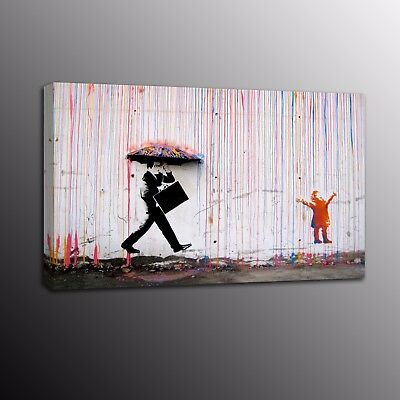 Canvas Prints Banksy Art Man in Rain Picture Street Art Wall Painting Home Decor