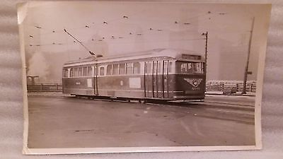Antique Original Electric Art Deco Trolley Photograph Chicago Wabash River 1952
