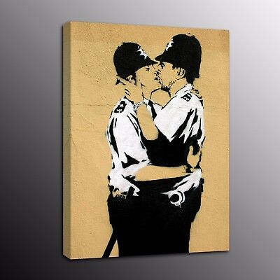 Banksy Art Canvas Prints Two Man Picture Street Art Wall Oil Painting Home Decor