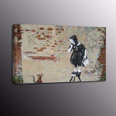 Banksy Art Canvas Prints Street Art Crying girl Picture Wall Painting Home Decor