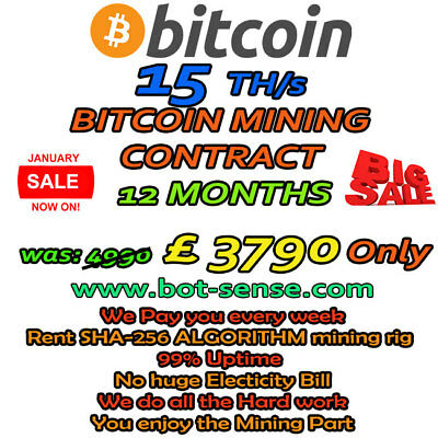 15 TH/s BITCOIN MINING CONTRACT 12 MONTHS - RUN MINING RIG TODAY!*LIMITED STOCK*