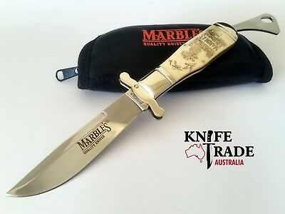 Marbles MR203 Bowie Folding Pocket Knife Scrimshaw Art Bone Handle Clip Blade