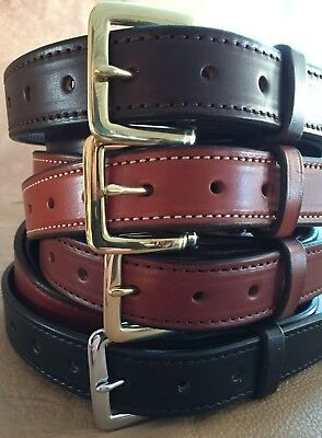 """1-1/4""""Plain Stitched Real Genuine Leather Casual Dress Belt Strap*Amish USA Made"""