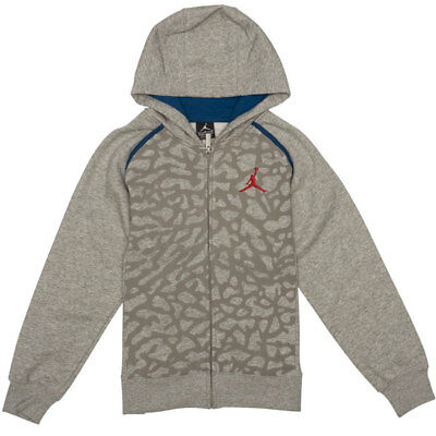 a7445fa0fd39 New Air Jordan Retro 3 Full Zip Hoodie Sweatshirt Grey Blue Red Boys Size  Medium