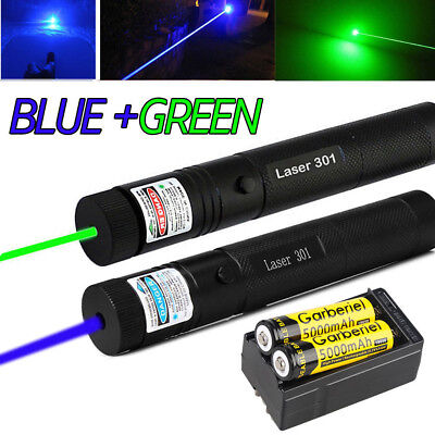 20 Miles Range Green&Blue Laser Pointer Pen 1mW Visible Beam 18650 Lazer&Charger