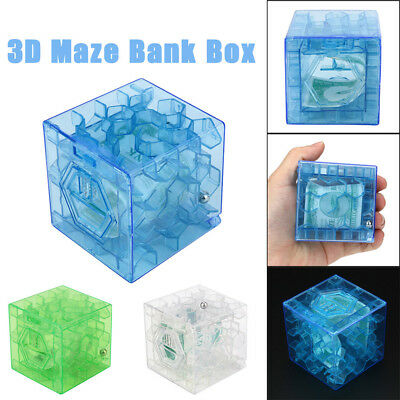 1PC 3D Cube Puzzle Money Maze Bank Saving Coin Collection Box Brain Game Toy