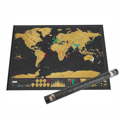 Deluxe Large Scratch Map Personalised World Map Travel Atlas Xmas Gift AU