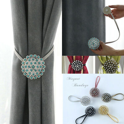 Crystal Magnetic Curtain Rope Buckle Window Tieback Holdback Tie Home Decor Art