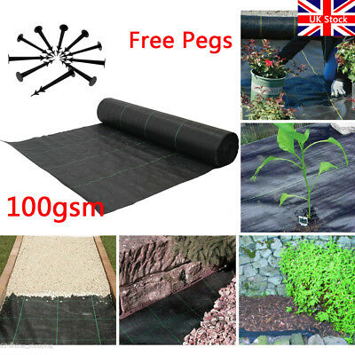 1m Wide 100gsm Weed Control Fabric Ground Cover Garden Membrane Mulch Heavy Duty