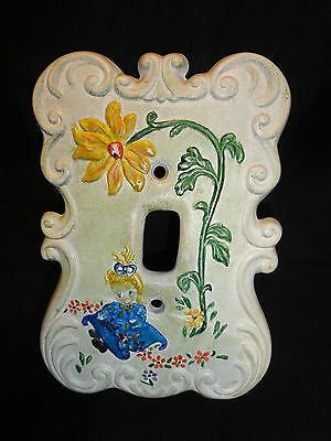 Light Switch Cover VTG Ceramic HP Single Toggle Girl Amid Flowers HOLLAND MOLD