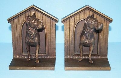 ANTIQUE GREAT DANE DOG CAST IRON BOOKENDS BRADLEY & HUBBARD B & H 1920's