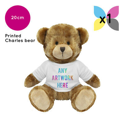 Personalised Soft Toy Charles Teddy Bear Printed Name Photo Image Or Text Gift