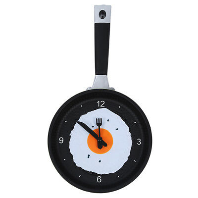Frying Pan Clock with Fried Egg - Kitchen Cafe Wall Clock - Green S3Y7
