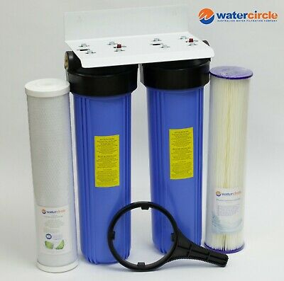 "PREMIUM HIGH QUALITY TWIN Big blue 20"" x 4.5"" whole house tank water filter PLT"