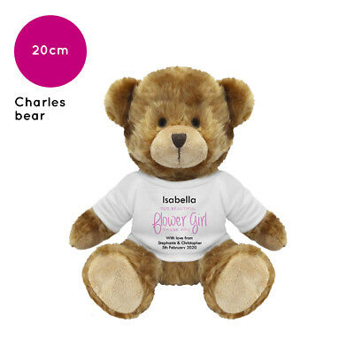 Personalised Flower Girl Wedding Soft Toy  Charles Teddy Bear  Gift Favour