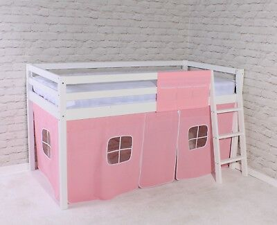 Shorty Mid Sleeper Cabin Bed Loft Bunk Tent Girls Pink New White Frame 2FT 6