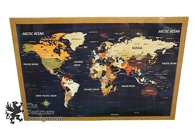 """Exotic 28"""" Inlaid Wood World Map Wall Art Atlas Marquetry Parquetry Desk Display"""